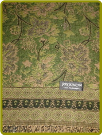 Cashmere Pashmina - Olive Green background with Tan & Black detail