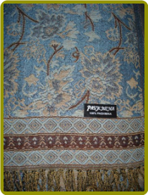 Cashmere Pashmina -Light Blue background with Brown, Tan & Light Gray detail