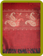 Cashmere/Silk Blend Pashmina - Red background with Tan detail